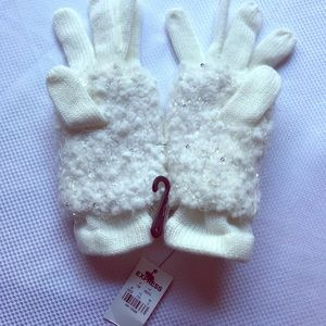 White gloves with fur accent by Express